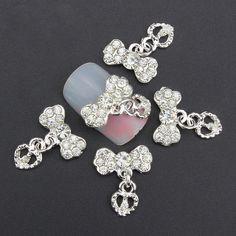 White Bow w/ Love Dangle 3D Nail Art Charm Decoration w/ White Stones