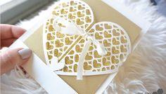 Wedding card - heart grid envelope + free silhouette cut file
