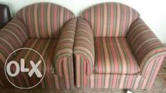 2 x stripe couches Striped Couch, Couches For Sale, Upcycled Furniture, Armchair, Home Decor, Striped Sofa, Sofa Chair, Decoration Home, Room Decor