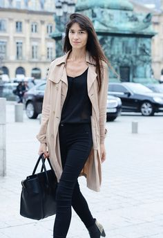 All black + khaki trench. Spring '14 Paris Fashion Week Street-Style
