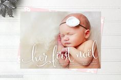 Baby's First Christmas Cards - Her First Noel Holiday Cards - Double Sided Birth Announcement Cards - FREE SHIPPING on Etsy, $30.00