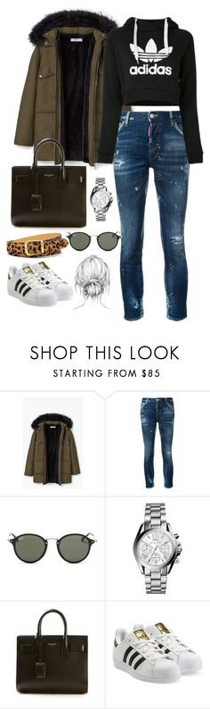 """Untitled #2393"" by thisishowwedress on Polyvore featuring MANGO, Dsquared2, adidas, Ray-Ban, Michael Kors, Yves Saint Laurent, adidas Originals and FOSSIL"