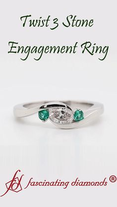This twist 3 stone engagement ring adds an enthralling aura with the splendid oval shaped lab diamond with immaculate brilliance is studded in the center in a horizontal pattern adorned by small sparkling round shaped emeralds on either side of the twisted shank of the ring adding a verve of style and grace to your look. #fascinatingdiamonds #labdiamondring #engagementring #rings #platinumring #threestonering #womensjewelry Stone Ring Design, Trinity Ring, 3 Stone Engagement Rings, Best Diamond, Amulets, Three Stone Rings, Platinum Ring, Lab Diamonds, Bling Bling