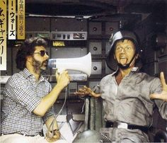 George Lucas and Richard Marquand in AT-ST driver costume.