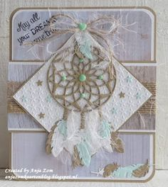 Handmade card by DT member Anja with Craftables Dreamcatcher (CR1373) and Design Folder Extra - Little Stars (DF3427) from Marianne Design