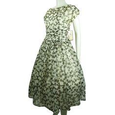 VINTAGE 1950 GRAY & WHITE  POLKA DOT CHIFFON RUCHED  DRESS