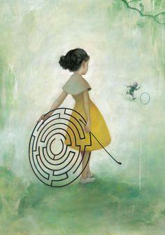 Imagen de una niña y un laberinto (Título: Maze, Autor: James Jean)