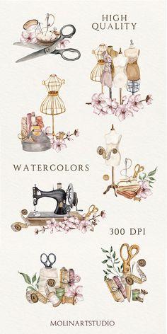 Decoupage Vintage, Vintage Sewing, Sewing Clipart, Studio Logo, Sewing Art, Sewing Studio, Paper Decorations, Watercolor Illustration, Handmade Crafts