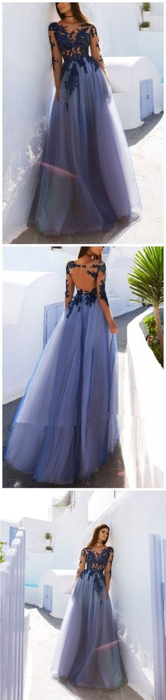Sexy See Through Blue Lace Long Sleeve Open Back Custom Long Evening Prom Dresses G196#prom #promdress #promdresses #longpromdress #promgowns #promgown #2018style #newfashion #newstyles #2018newprom #eveninggown #seethroungh #bluelace #longsleeve #openback #tulle