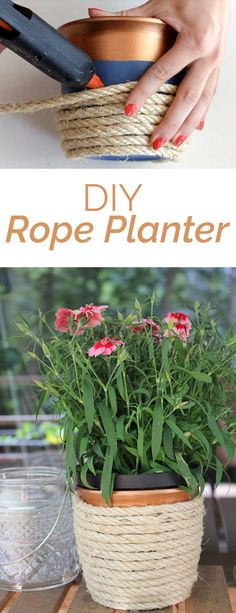 Update an old planter with some copper paint and sisal rope! Quick, cheap and easy DIY with video tutorial!