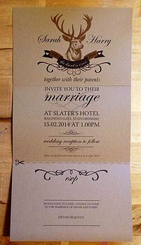 Stag 'The Hunt Is Over' Wedding Stationery Jessi...Look at these.