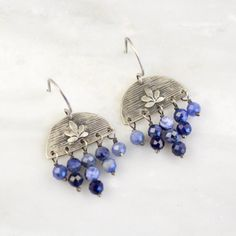 LIttle Sprout Forged Silver Half Circle Sodalite Chandelier Earrings – Sarah DeAngelo Chandelier Earrings, Drop Earrings, Half Circle, Sterling Silver, Stone, Antiques, Jewelry, Antiquities, Rock