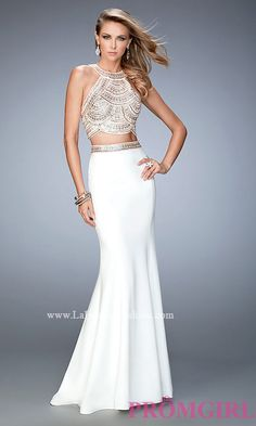 Two Piece Ivory High Neck La Femme Dress Style: LF-22587