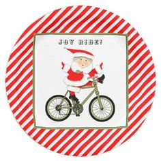 Cycling Christmas Paper Plate - home gifts ideas decor special unique custom individual customized individualized