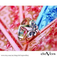 """Forever stylish and classic, Sterling Silver """"Fleur de Lis"""" ring. Designed and made by deVos Jewellery."""