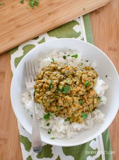 Coconut Green Lentil Curry - Gluten Free, Dairy Free, Slimming World and Weight Watchers friendly Lentil Recipes, Veggie Recipes, Vegetarian Recipes, Cooking Recipes, Healthy Recipes, Baby Recipes, Veggie Meals, Yummy Recipes, Recipies