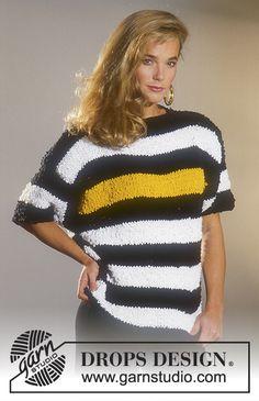 Pruhovaný pulovr s krátkým rukávem pletený z příze DROPS Paris.