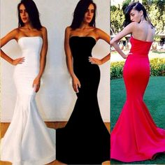 Simple strapless prom dresses, fitted mermaid prom dresses, classy long prom dresses in white Classy Prom Dresses, Strapless Prom Dresses, Simple Prom Dress, Prom Dresses 2018, Mermaid Prom Dresses, Classy Dress, Simple Dresses, Bridesmaid Dresses, Dress Prom