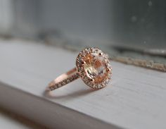 Oval champagne peach sapphire diamond ring 14k rose gold....yes please