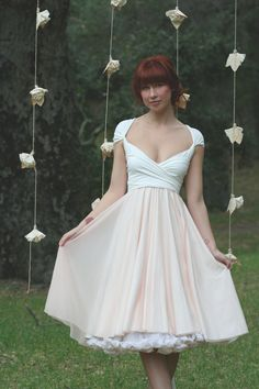 Avalon Peach Chiffon- Ready to Ship Asymmetrical- Convertible Wrap Dress. $124.99, via Etsy.