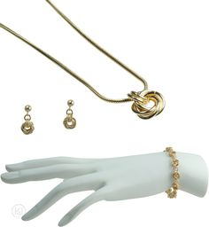 Rosabella Love Knot Gold Set - includes: The Bracelet, The Earrings, The Necklace, and an optional Free Greeting Card Gold Set, Jewelry Sets, Knots, Greeting Cards, Love, Bracelets, Earrings, Amor, Ear Rings