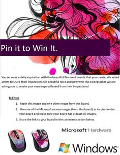 Microsoft Hardware Announces New Mice and A Pinterest Contest - #pinterest #sweeps  @Windows On Pinterest