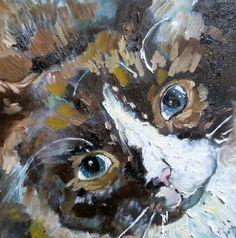 """Moggit portrait of a cat"" - Lydia Knox Giraffe, Original Art, Owl, Fine Art, Bird, Kitty Cats, Portrait, Painting, Animals"