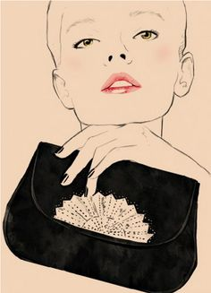 """Fashion Illustration by Sandra Suy, 2012, """"Evening Clutch, F/W 1979, by Karl Lagerfeld"""", Chloe Anniversary Collection."""