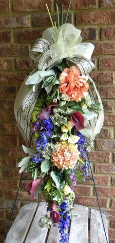 Mix Silk Flowers Spring Door Swag by tlgsilkfloral on Etsy, $79.95