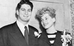Judy Holliday and husband David Oppenheim....he was a clarinetist, conductor and educator whom she had married in 1948 and divorced in 1958.