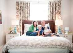 Little Green Notebook: House Tour: Emily and Todd's Bedroom; bed in front of window solution