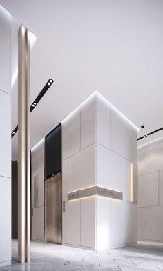 Residential lobby on Behance Hotel Lobby Design, Elevator Lobby Design, Lobby Interior, Office Interior Design, Office Interiors, Interior Architecture, Office Designs, Modern Interior, Lift Design