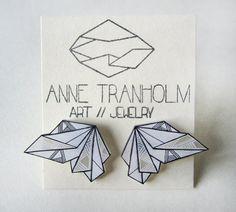 BLACK & WHITE GEOMETRIC post earrings // unique hand-drawn shrink plastic stud earrings by AnneTranholm