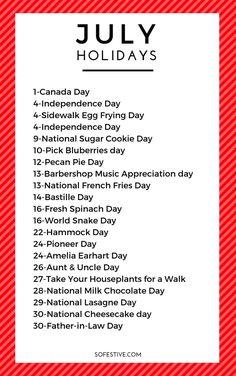 Fun July Holidays To Celebrate & Free Calendar- So Festive! Fun July Holidays To Celebrate & Free Calendar- So Festive! Monthly Celebration, Celebration Day, Holiday List, Holiday Fun, Festive, Silly Holidays, Holidays In July, List Of Holidays, Random Holidays