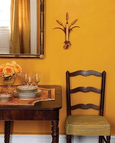 DR:MS  Marigold  Utilizing a lone color scheme can be tricky; to avoid overpowering a room, seek out a color that is lively but not too bold, like this rich marigold.