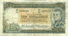 AUSTRALIA R17 PREDECIMAL NOTE 10/ 1954 RESERVE BANK