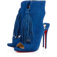 Christian Louboutin Otoka ($1,345) ❤ liked on Polyvore featuring shoes, boots, ankle booties, espadon, open toe booties, suede bootie, fringe boots, suede fringe boots and ankle boots