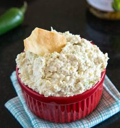 Artichoke Jalapeno Dip - Copycat version of a Costco favorite. Creamy, a little spicy, and delicious. Great served warm or cold.