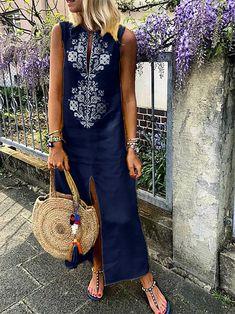 Cotton Floral Sleeveless Maxi Shift Dress – Linen Dresses For Women Shift Dresses, Plus Size Maxi Dresses, Linen Dresses, Women's Dresses, Casual Dresses, Sleeveless Dresses, Printed Dresses, Flowing Dresses, Floral Dresses
