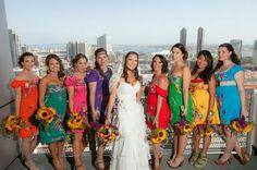 Bridesmaids dresses & sunflowers!!