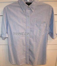 RALPH LAUREN BLOUSE L BLUE CHECK GINGHAM SEERSUCKER COTTON COMFORT BEAUTY #RALPHLAUREN #ButtonDownShirt