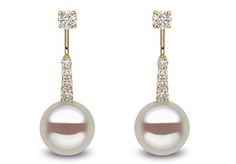 Yoko London 18kt yellow gold ear jacket with 11-12mm South Sea pearls and 0.83ct diamonds.