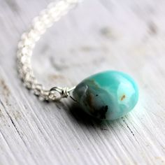Peruvian Opal Necklace on Sterling Silver Chain  by JarosDesigns, $52.00