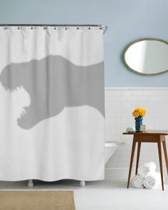 T-Rex Shower Curtain dino coolest bathroom you will ever see jurrasic park in this house we do geek dorm decor girls dorm guys dorm (59.99 USD) by CrazyDogTshirts