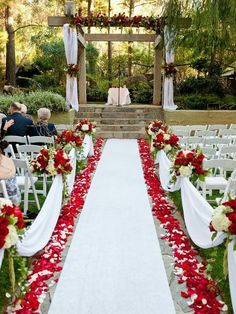 Wedding aisle with red rose petals #white #chairs #reception #dress #decoration #centerpiece #trending #bridesmaids #flowers #happy #love #blacklove
