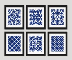 Blue Wall Art Navy Art Wall Decor Set of 6  8x10 by inkandnectar, $55.00