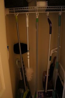 use shower curtain hooks to hang up cleaning supplies! so much better than having them fall all over the place
