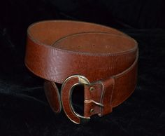 Vintage Wide Leather Belt with Leather Buckle.  by FlanneryCrane, $18.00