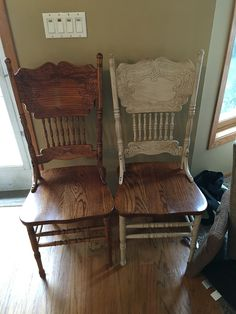 Before and after. Painted in linen, distressed, and dark waxed!