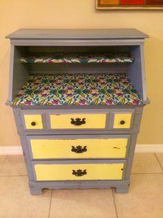 Refurbished dresser using fabric!